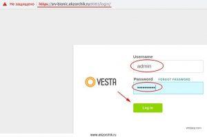 Авторизуемся в Web-панели собственного сервера