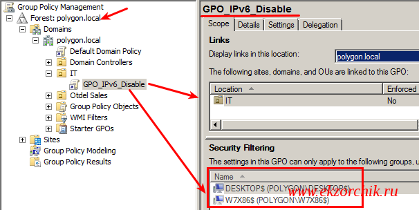 Политика нацеленная на компьютер: GPO_Disable_IPv6