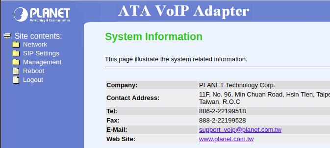 Web-интерфейс шлюза Planet ATA-150S