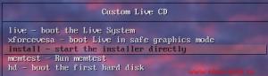 Выбираем меню Install для загрузки с образа/бекапа подготовленной системы