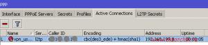 Клиент (Windows 7 станция) успешно подключился к микротику через VPN