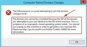 SID у системы не уникален в сети - значит нужно сделать сброс операционной системе Windows
