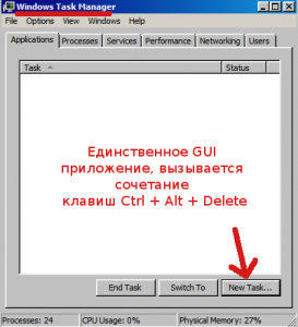 Вызываем диспетчер задач, нажав на клавиатуре (Ctrl + Alt + Delete).
