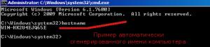 Текущее имя системы сгенерированное системой при первоначальной установке.