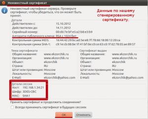 Отображаемое окно свидетельствующее, что FTP ресурс используем самоподписанный сертификат.