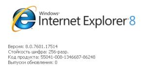 Текущая версия Internet Explorer 8.