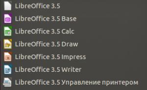 Пакет установленных приложений LibreOffice.