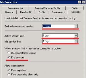 Принудительно выставленные значения на ограничение RDP сессии на сервере.