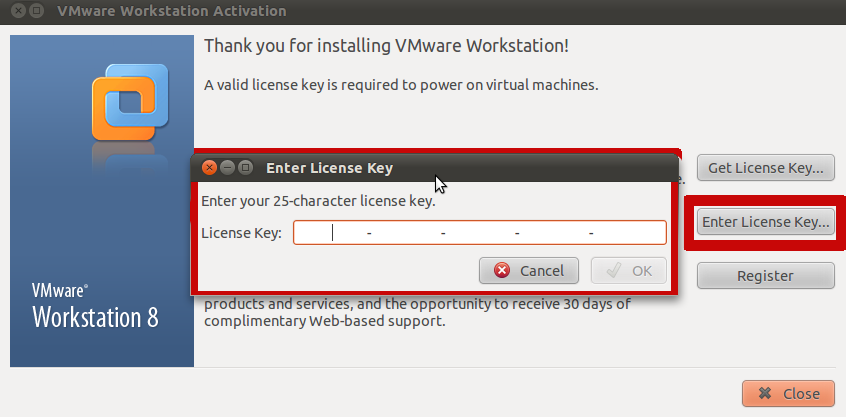 Активируем Vmware Workstation 8 на системе Ubuntu 10.10