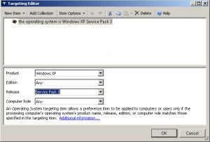 Привязываем применение ключей реестра применительно к рабочим станциям под управлением Windows XP SP3.
